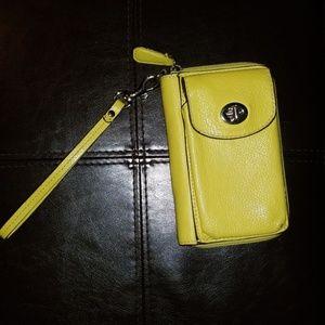 Neon Yellow COACH zip wallet/phone case wristlet